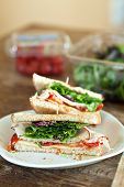 picture of tomato sandwich  - Simple turkey sandwich on honey wheat bread with lettuce and tomato - JPG