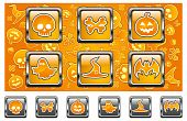 pic of drakula  - Halloween icons with skull pumpkin bone hat bat and ghost in yellow vector illustration - JPG