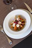 image of truffle  - Mixed salad with shrimp truffle potato chips beet and tomato sauce - JPG