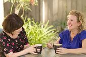 picture of comrades  - Women and friendship sharing stories over a cup of coffee outdoors - JPG