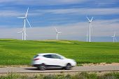 foto of windmills  - Windmills for electric power production and car - JPG