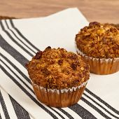 image of pecan  - Peach Muffins with Buttery Pecan Topping - JPG