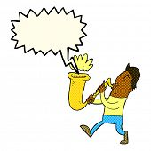 image of saxophone player  - cartoon man blowing saxophone with speech bubble - JPG