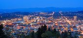 pic of portland oregon  - View of Portland Oregon from Pittock Mansion at Night - JPG