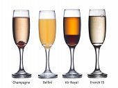 image of flute  - Collection of most popular alcoholic cocktails with sparkling wine - JPG