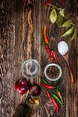 image of bay leaf  - Spices on wooden table - JPG