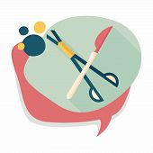 stock photo of surgical instruments  - Surgical Instrument Flat Icon With Long Shadow - JPG