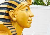 foto of pharaoh  - the right side of golden pharaoh statue - JPG
