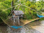 image of trap  - Thai style fishing trap in Pak Pra Phatthalung Thailand - JPG