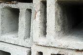 stock photo of orifice  - Stack of the concrete ventilation blocks - JPG