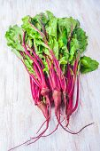 stock photo of beet  - fresh beet leaves on a white wooden table - JPG