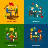 picture of occasion  - People in restaurant occasions design concept set with romantic evening anniversary friends meeting family dinner flat icons isolated vector illustration - JPG