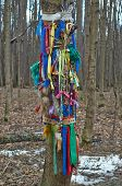 stock photo of pagan  - Offerings to the pagan gods in the forest temple - JPG