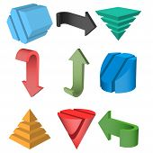 stock photo of cylinder pyramid  - Set of 3D Geometric Shapes and Arrows Vector Illustration - JPG