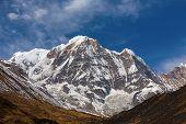 image of sanskrit  - Annapurna South peack in the Nepal Himalaya  - JPG