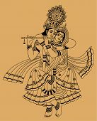 picture of krishna  - Krishna and his wife on a beige background - JPG