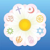 picture of jainism  - World religion symbols on petals of a flower as a symbol for religious solidarity and coherence  - JPG