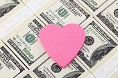 image of 100 dollars dollar bill american paper money cash stack  - Heart post it paper on one hundred dollar bills background - JPG