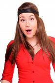 pic of woman red blouse  - young woman laughs merrily - JPG