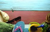 foto of beach hut  - Summer beach hut objects including sunglasses sea shell and towel - JPG
