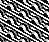stock photo of hemisphere  - Striped 3D Hemisphere Hills Vector Seamless Pattern Background - JPG