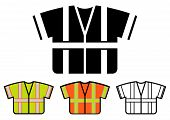 image of camisole  - Safety Vest Icon Multicolored Set Vector Illustration - JPG