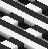 foto of parallelepiped  - Striped 3D Square Holes Vector Seamless Pattern Background - JPG