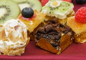 foto of petition  - Assortment of petit four desserts Sweet food and desserts - JPG