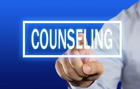 image of counseling  - Business concept image of a businessman clicking Counseling button on virtual screen over blue background