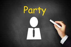pic of politician  - businessmans hand writing party on black chalkboard politician - JPG