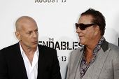 LOS ANGELES - AUGUST 3:  Bruce Willis & Mickey Rourke arrives at