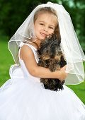 Little Bridesmaid With Cute Dog poster