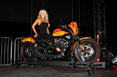 LOS ANGELES - OCT 21:  Gretchen Rossi & the Cosmic Starship Harley at the Harley Davidson Showcase a