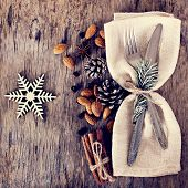 Table Set With A Winter, Christmas Decoration poster