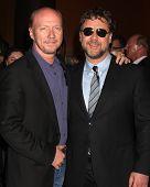 LOS ANGELES - NOV 16:  Paul Haggis, Russell Crowe arrives at