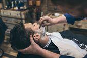 Barber Shaving Customer poster