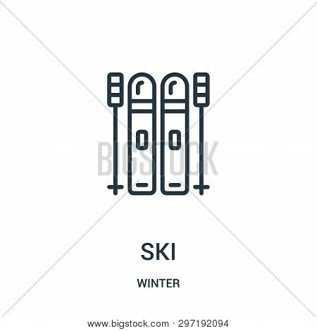 poster of Ski Icon Isolated On White Background From Winter Collection. Ski Icon Trendy And Modern Ski Symbol