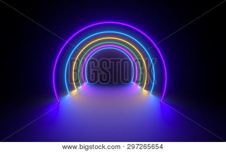 poster of Futuristic Sci-fi Dark Room With Glowing Neon. Virtual Reality Portal, Vibrant Colors, Laser Energy
