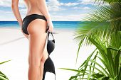 stock photo of string bikini  - Close up view of nice smooth woman - JPG