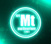 Meitnerium Chemical Element. Sign With Atomic Number And Atomic Weight. Chemical Element Of Periodic poster