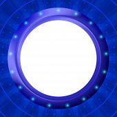 Ojo de buey de marco sobre fondo azul