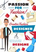 Fashion Designer Profession, Atelier Dressmaker Tailor. Vector Man With Tailoring Scissors, Sewing M poster