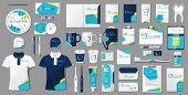 Corporate Medical Center Branding Identity Template Design. Modern Stationery Mockup For Dental Clin poster