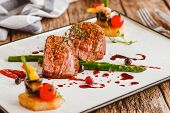 Luxury Gourmet Food. Veal Cooking Recipe. Elegant Expensive Restaurant Meal. Meat Dish On Plate. poster