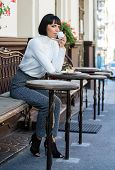 Delicious And Gourmet Snack. Girl Relax Cafe With Coffee And Dessert. Woman Attractive Elegant Brune poster