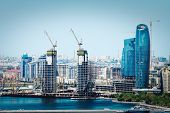 Scenic Landscape Of Skyline Baku With  Numerous Modern High-rise Buildings Under Construction. Baku  poster