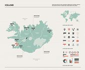 Vector Map Of Iceland. High Detailed Country Map With Division, Cities And Capital Reykjavik. Politi poster