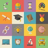 Education, Knowledge Icon Set In Flat Style Vector Illustration School, University, College, Science poster