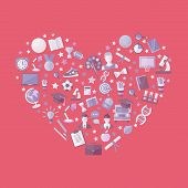 Education, Knowledge Icon Set In Heart Symbol In Flat Style Vector Illustration On A Pink Background poster