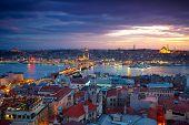 Panorama do sol de Istambul
